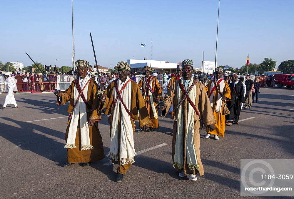 Traditional Toubou dance, tribal festival, Place de la Nation, N'Djamena, Chad, Africa