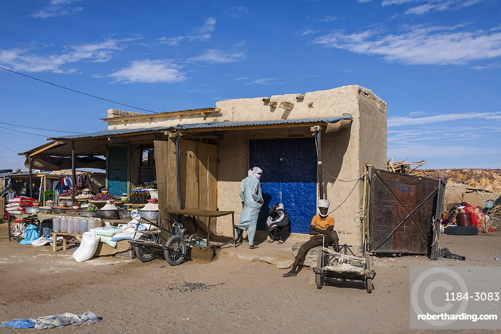 Market stalls in the desert town of Faya-Largeau, northern Chad, Africa