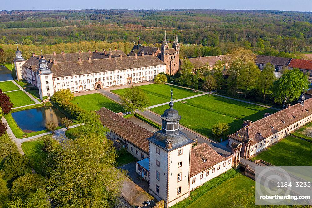 Aerial of the Unesco world heritage sight,Princely Abbey of Corvey, North Rhine-Westphalia, Germany