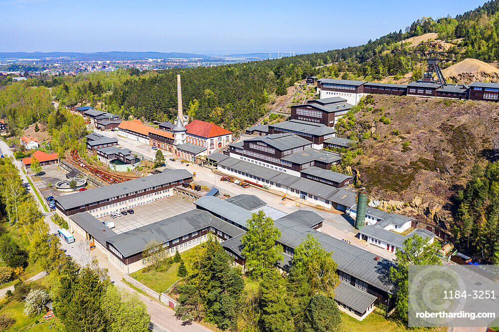 Aerial of the Unesco world heritage sight the mines of Rammelsberg, Goslar, Lower Saxony, Germany