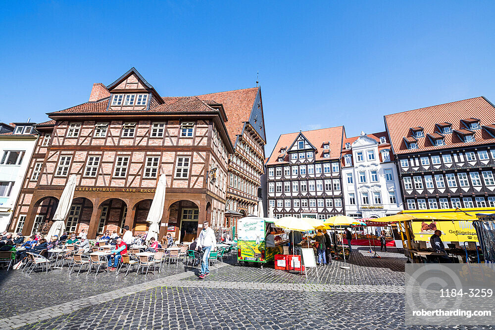 Historic market square, Unesco world heritage sight Hildesheim, Lower Saxony, Germany
