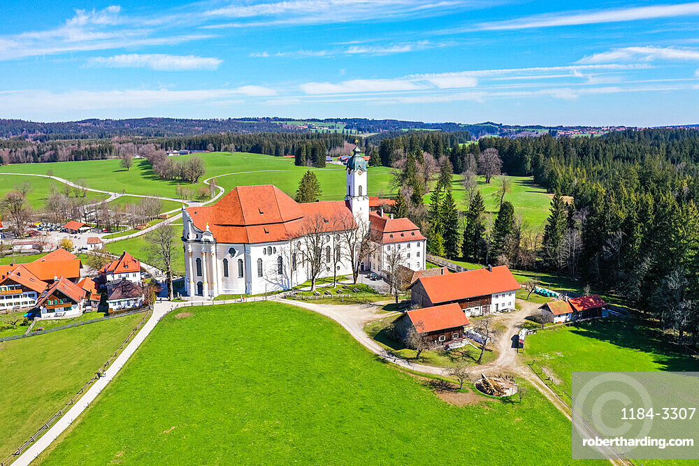 Aerial of the Unesco world heritage sight the Pilgrimage Church of Wies, Bavaria, Germany