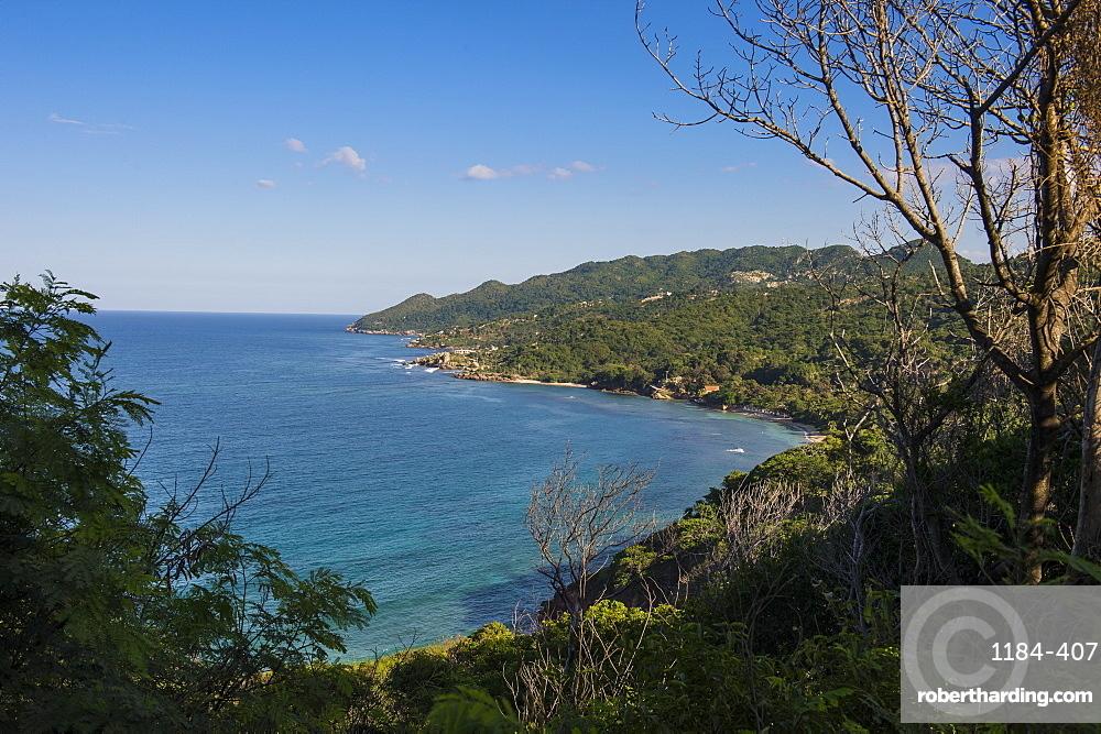 View over the beautiful coastline of Labadie, Cap Haitien, Haiti, Caribbean, Central America