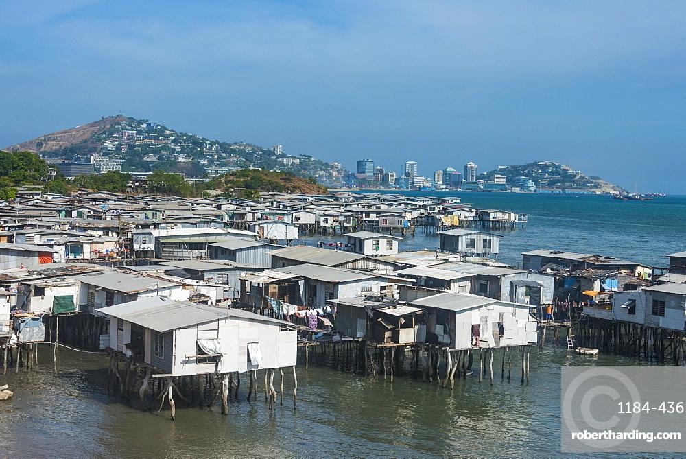 Poreporena stilt village, Port Moresby, Papua New Guinea, Pacific