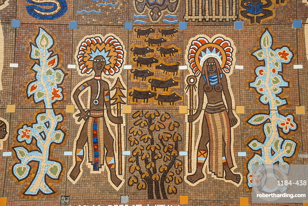 Mosaics on the entrance of the National Parliament, Port Moresby, Papua New Guinea, Pacific