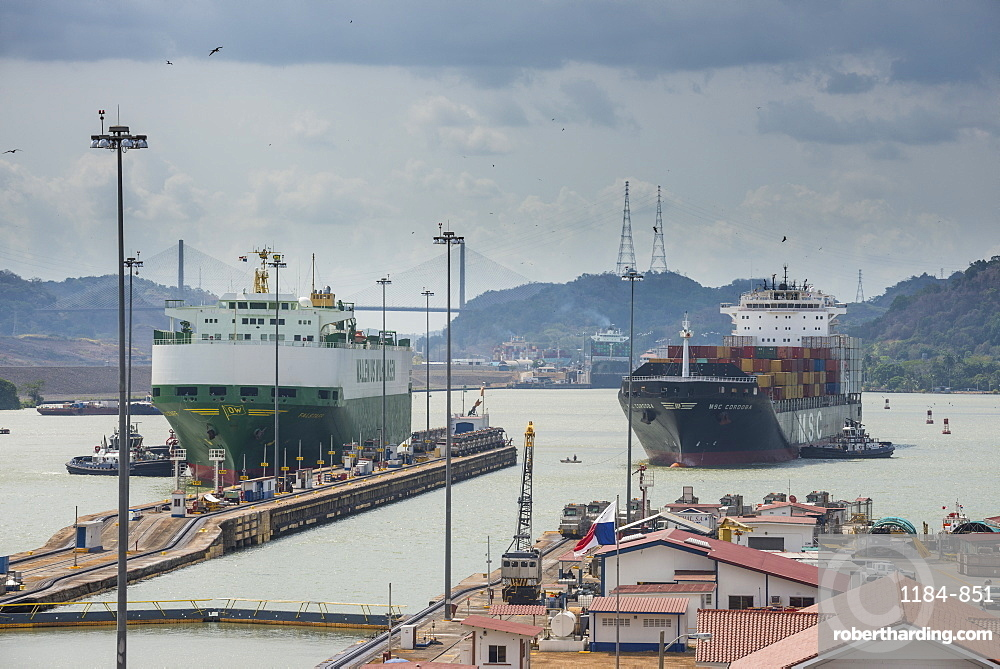 Cargo boats passing the Miraflores Locks, Panama Canal, Panama City, Panama, Central America