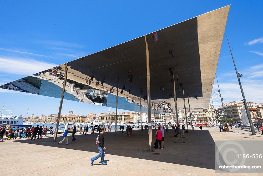 The Port Vieux Pavilion Mirrored Canopy, Marseille, Bouches du Rhone, Provence, Provence-Alpes-Cote d'Azur, France, Europe