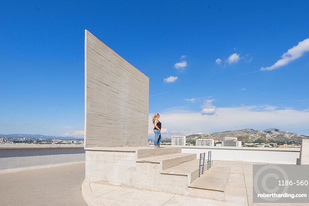 Rooftop of the Unite d'Habitation building, Marseille, Bouches du Rhone, Provence, Provence-Alpes-Cote d'Azur, France, Europe