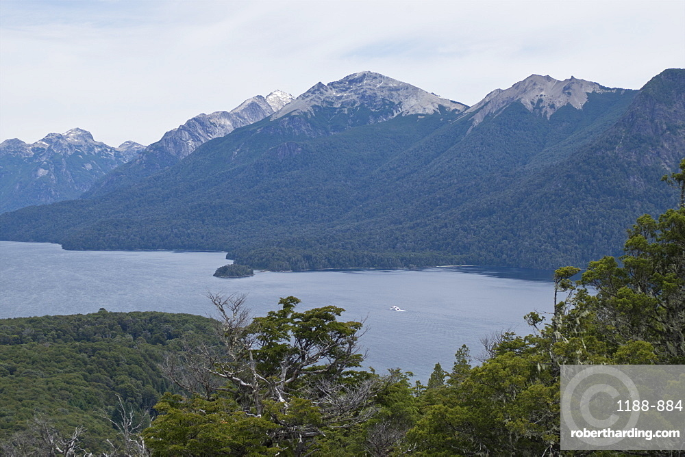 Views of Andes mountains by Lake Nahuel Huapi in Bariloche, Argentina, South America
