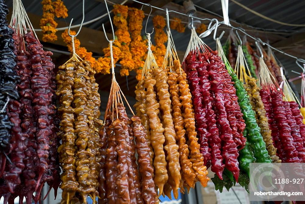 Traditional churchkhela for sale at the market in Kutaisi, Georgia, Central Asia, Asia