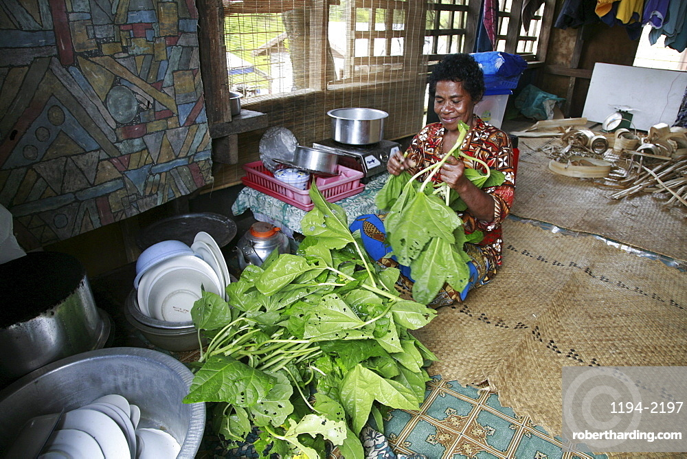 Fiji woman preparing spinach for cooking. taveuni photo by sean sprague