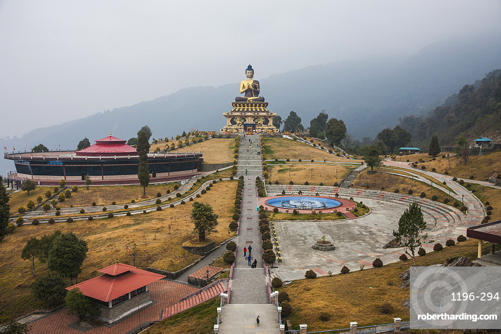 The Buddha Park of Ravangla (Tathagata Tsal) with 130-foot high statue of the Buddha, situated near Rabong, Sikkim, India, Asia