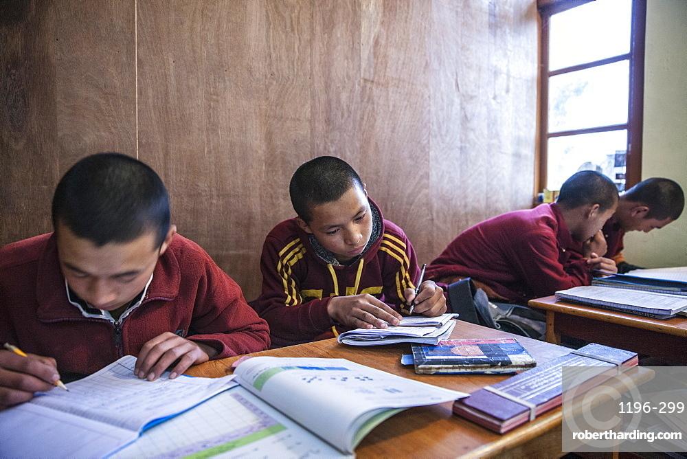 Monks at Lelung Monastic Institute studying Tibetan, Namchi, South Sikkim, India, Asia