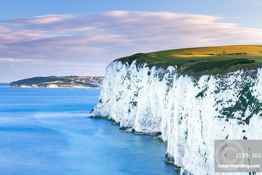 White Chalk cliffs near Old Harry Rocks, Jurassic Coast, UNESCO World Heritage Site, Dorset, England, United Kingdom, Europe