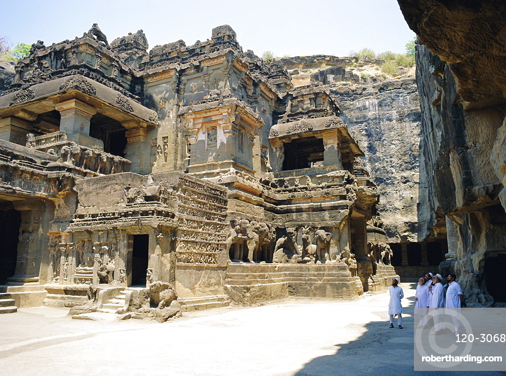Main hall (Mandapa) from SW with entrance and Ramayana frieze, Kailasa Temple, Ellora, India