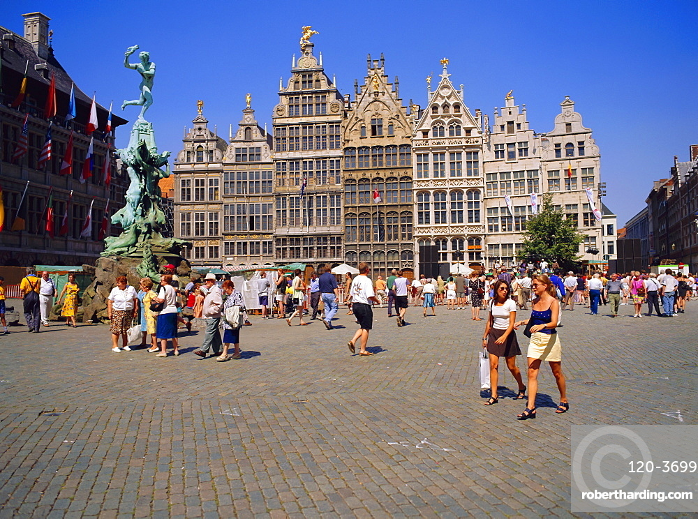 Restored Guildhouses, and the Brabo Fountain, Grote Markt, Antwerp, Belgium