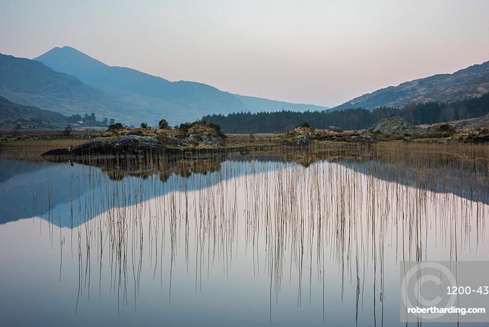 Lake reflection, Cummeenduff Lake, Black Valley, Killarney, County Kerry, Munster, Republic of Ireland, Europe