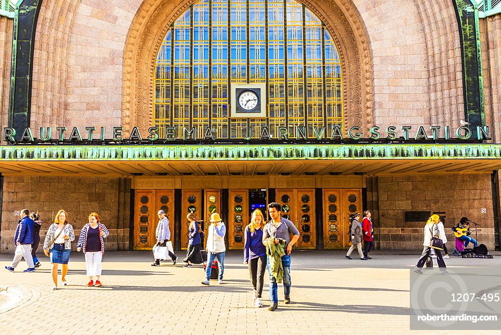 Entrance to Helsinki Train Station in Helsinki, Uusimaa, Finland, Europe