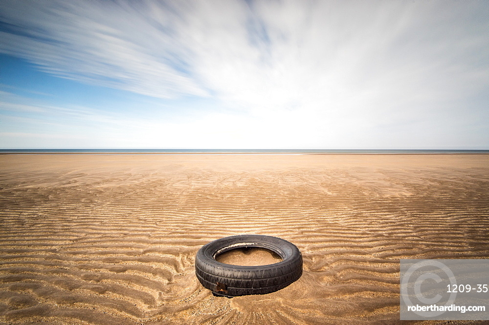 Spare tyre, Lindesfarne, Northumberland, England, United Kingdom, Europe
