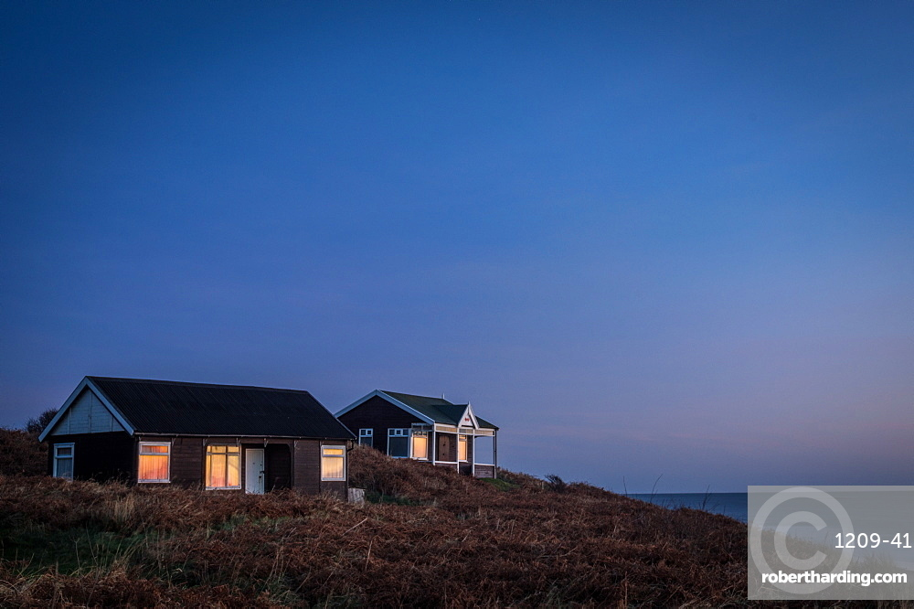 Beach huts, Embleton Bay, Northumberland, England, United Kingdom, Europe