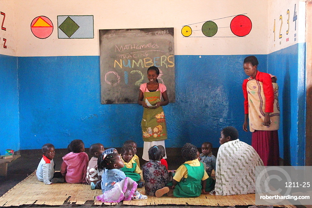 Small children and teacher, Malawi, Africa