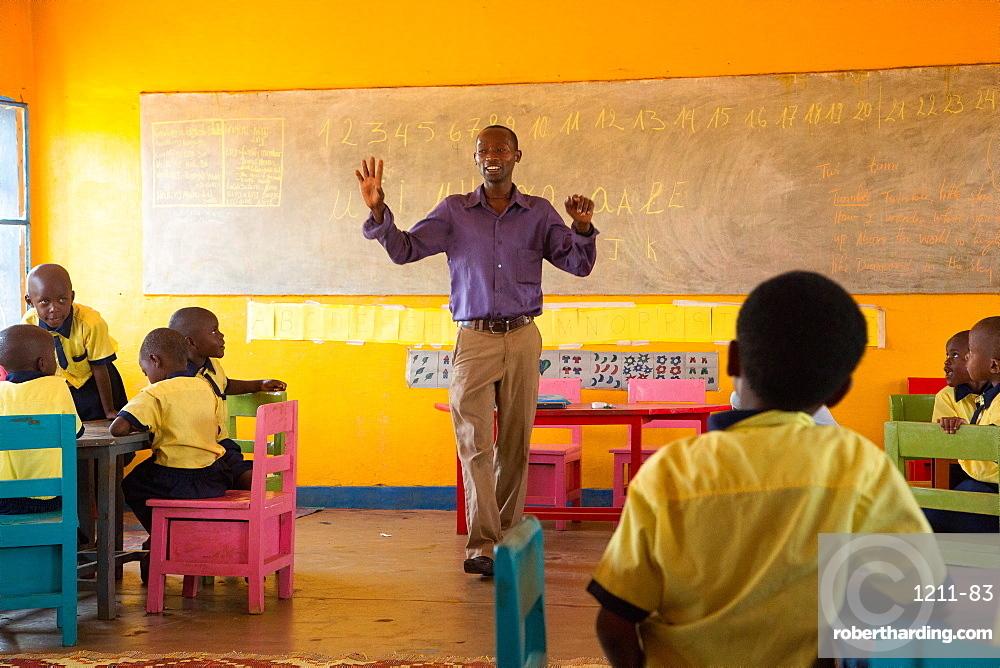 Theoneste Habiyaremye, local nursery teacher in Murama district, eastern Rwanda, Africa