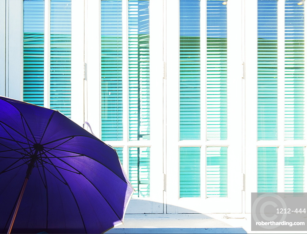 Abstract of purple parasol and cyan window shutters, Naypyitaw, Myanmar (Burma), Asia