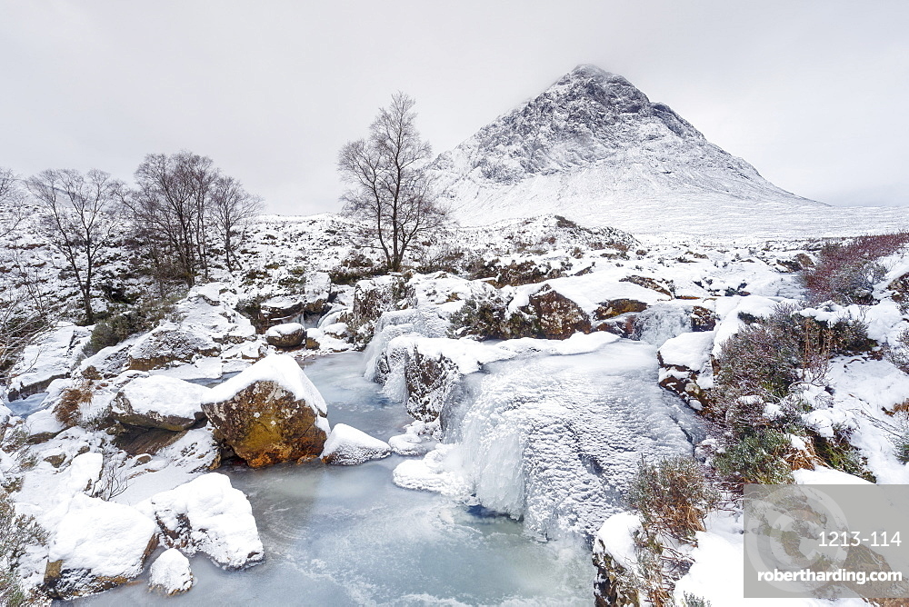 A frozen River Coupall and Buachaille Etive Mor in winter, Glen Etive, Highlands, Scotland, United Kingdom, Europe