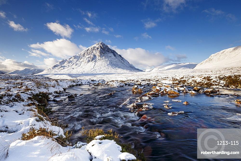 A wintery scene at Buachaille Etive Mor and River Coupall, Glencoe, Highlands, Scotland, United Kingdom, Europe