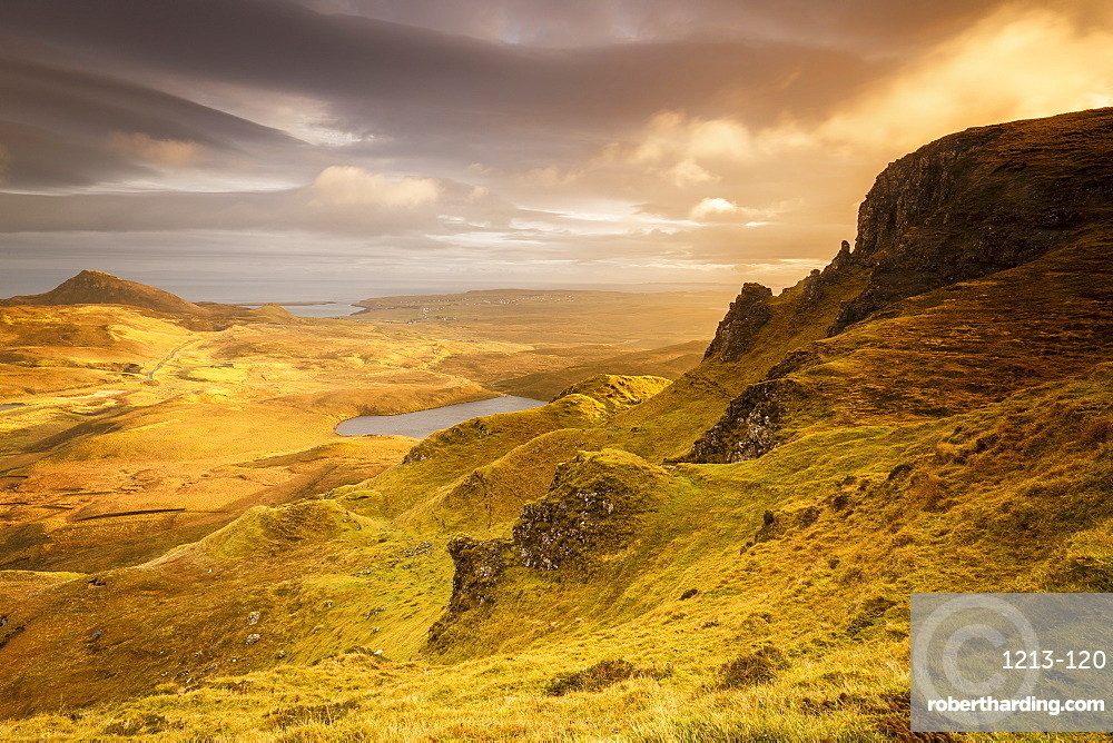 The Trotternish Range towards Staffin from the Quiraing on the Isle of Skye, Inner Hebrides, Scotland, United Kingdom, Europe
