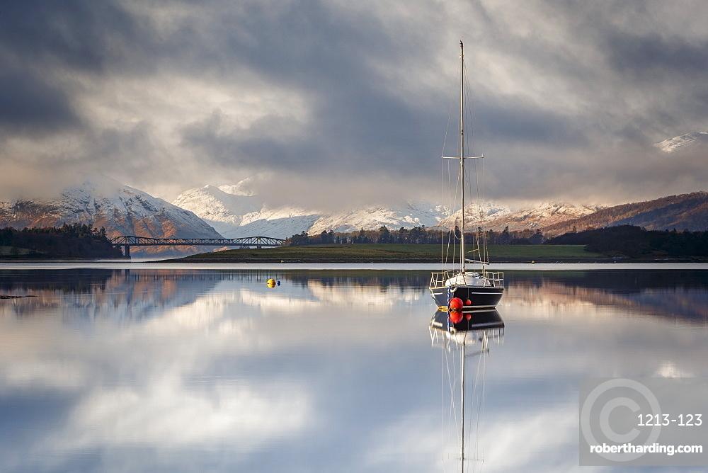 The still waters of Loch Leven near Ballachulish on a winter morning, Glencoe, Highlands, Scotland, United Kingdom, Europe