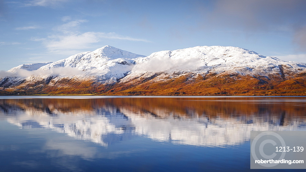Wintery scene of Loch Linnhe, near Fort William, in calm weather with reflections, Highlands, Scotland, United Kingdom, Europe