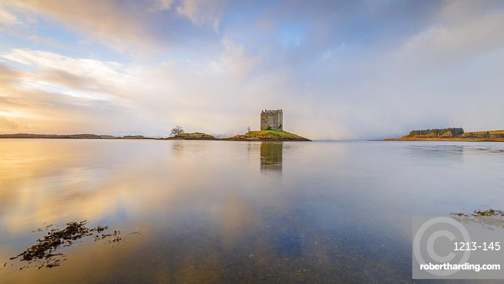 Castle Stalker on its own island in Loch Laich off Loch Linnhe, Port Appin, Argyll, Scottish Highlands, Scotland, United Kingdom, Europe