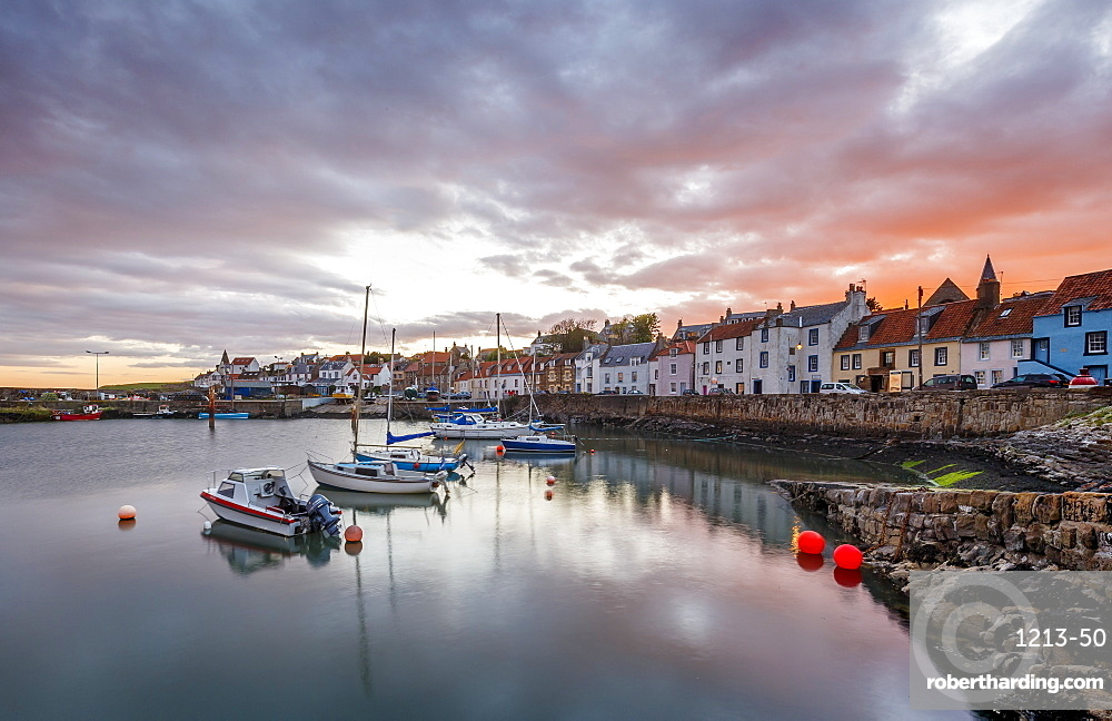 Sailing boats at sunset in the harbour at St. Monans, Fife, East Neuk, Scotland, United Kingdom, Europe