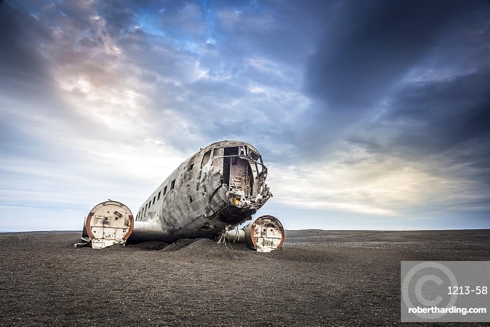 Wreckage of a United States Navy Douglas Super DC-3 that crashed on the black beach at Solheimasandur, South Region, Iceland, Polar Regions