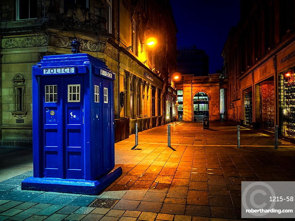 A Police box in Glasgow, Scotland, United Kingdom, Europe