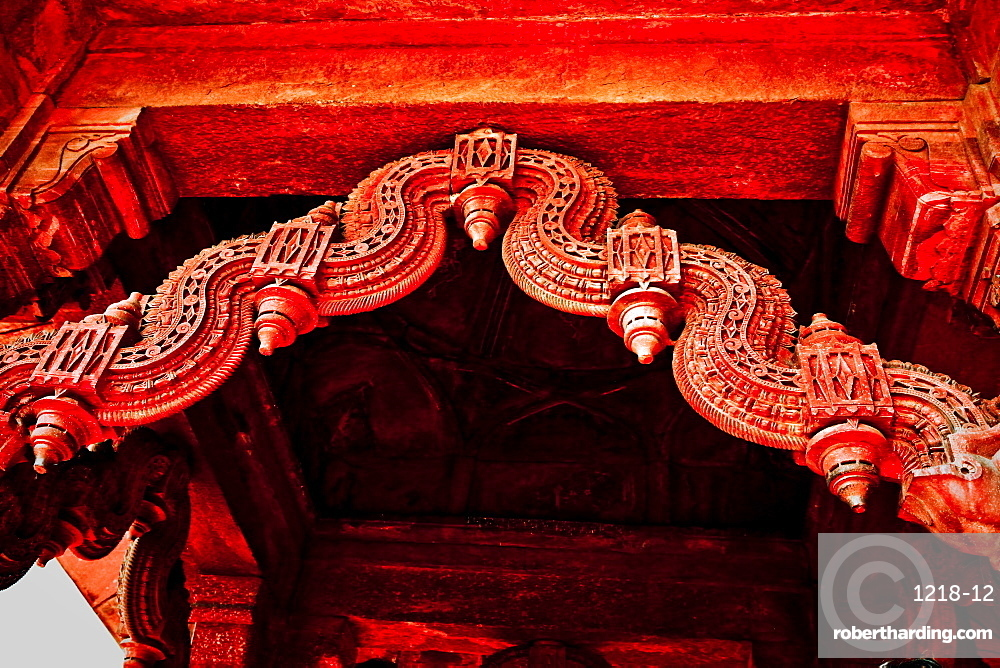 Stone carving detail, Red Fort, Delhi, India, Asia