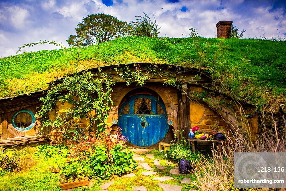 Front door of a Hobbit House, Hobbiton, North Island, New Zealand, Pacific