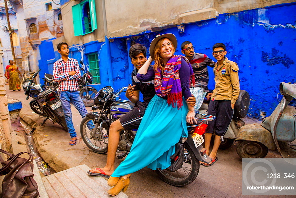 Woman standing in the blue streets of Jodhpur, the Blue City, Rajasthan, India, Asia