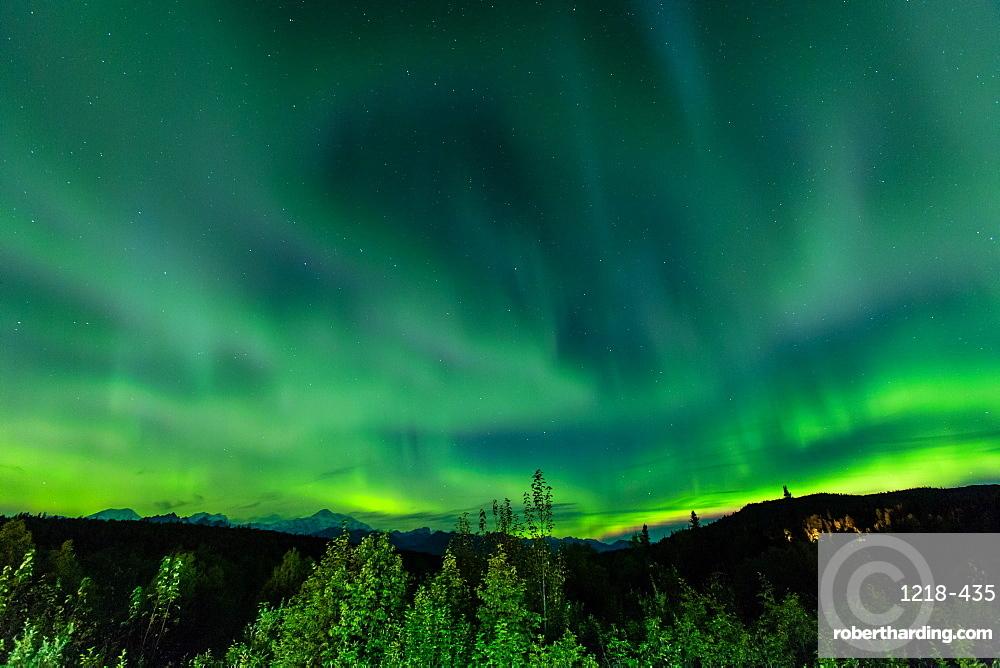 Aura Borealis (Northern lights) in Denali Wilderness National Park, Alaska, United States of America, North America