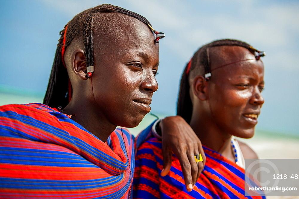 The Two Josephs, Maasai warriors, Zanzibar Island, Tanzania, East Africa, Africa
