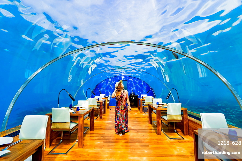 Views from Ithaa, the undersea restaurant at Conrad Maldives, Maldives, Indian Ocean, Asia