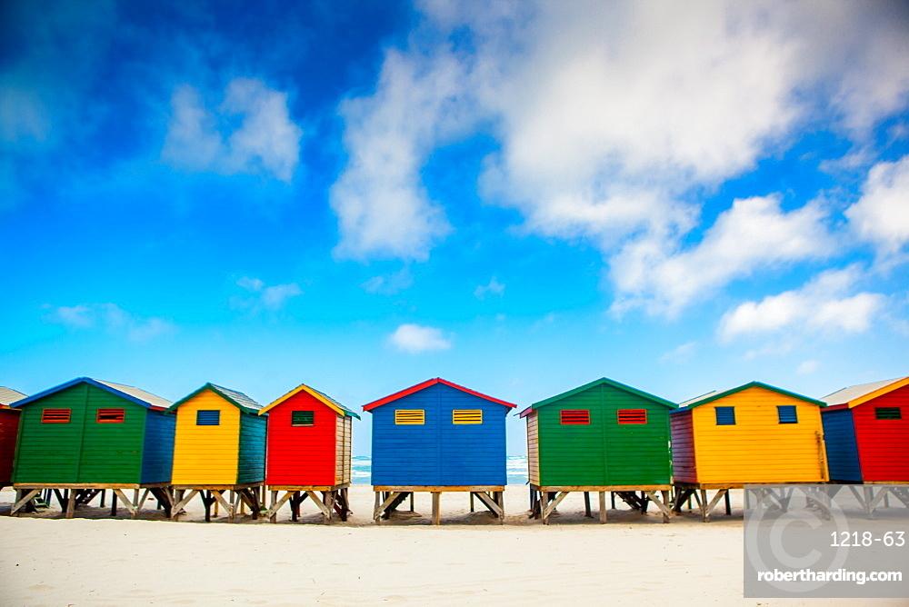 Colorful beach shacks, Muizenberg Beach, Cape Town, South Africa, Africa