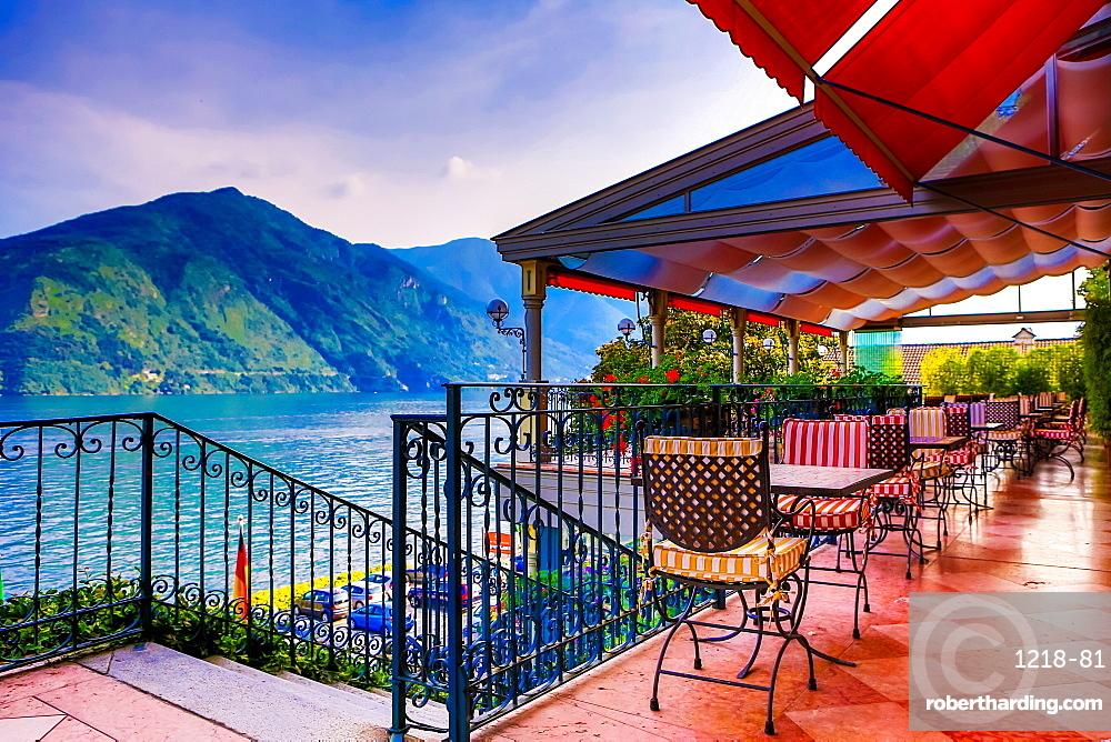Patio at Grand Hotel Tremezzo, Lake Como, Lombardy, Italy, Europe