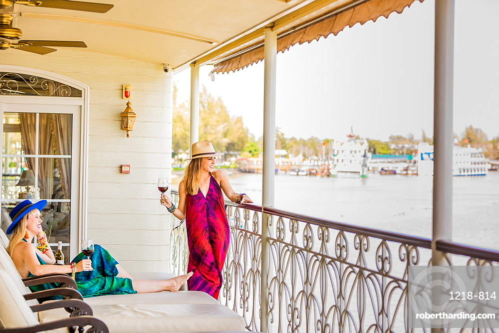 American women tourists aboard the Mekong Princess, as it sails down the Mekong Delta from Cambodia to Vietnam.