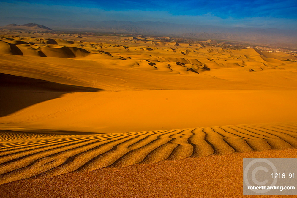 Sand dunes at Huacachina Oasis, Peru, South America