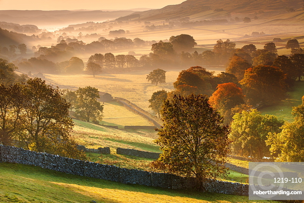 The Littondale Valley lit by the early morning light on a misty autumn morning in the Yorkshire Dales, Yorkshire, England, United Kingdom, Europe