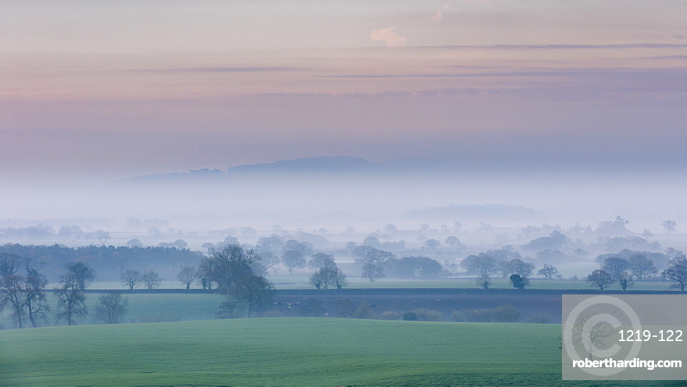 A pastel spring dawn morning with mist lying in the Cheshire plain extending to the Peckforton Hills and Beeston Castle, Cheshire, England, United Kingdom, Europe