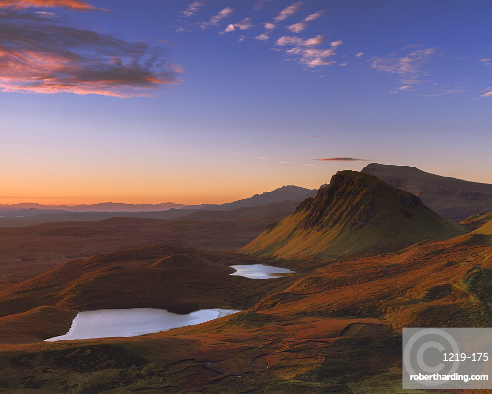 Looking south along the Trotternish peninsula to Cleat with the sun raking across the landscape on the Isle of Skye, Inner Hebrides, Scotland, United Kingdom, Europe
