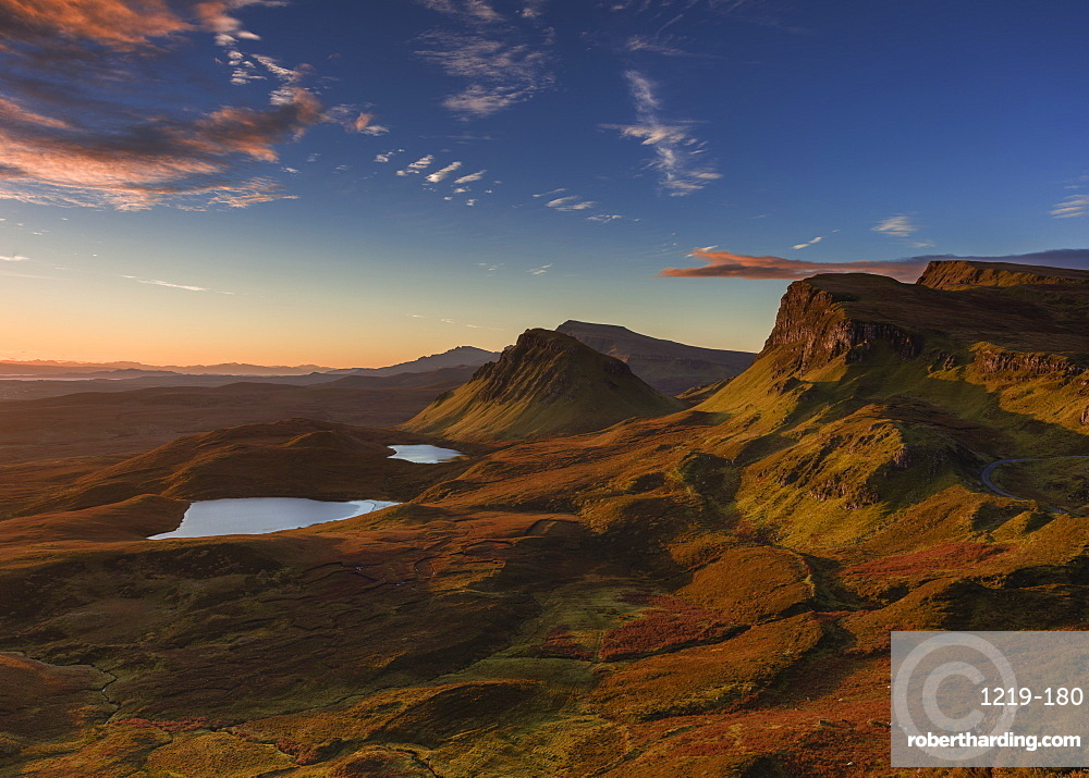 The Trotternish ridge at dawn looking south to the Cleat, and beyond to the Sound of Raasay, Scottish Highlands, Scotland, United Kingdom, Europe